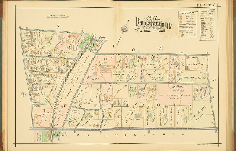 SMITH MONTGOMERY COUNTY PA 1900 J.L MERION CRICKET CLUB COPY PLAT ATLAS MAP