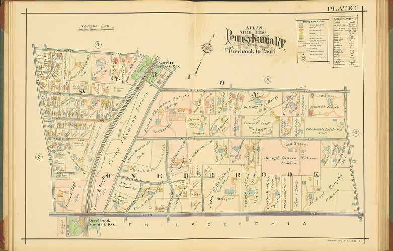 SMITH MONTGOMERY COUNTY PA 1900 J.L MERION CRICKET CLUB COPY PLAT ATLAS MAP