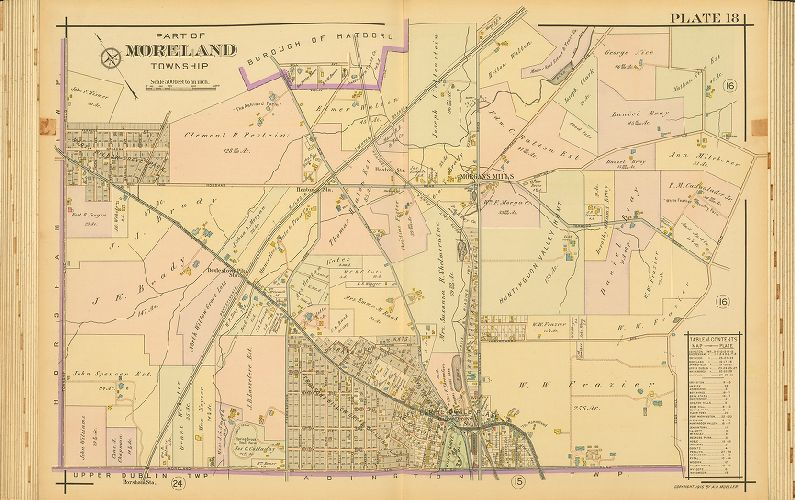 PA COPY PLAT ATLAS MAP SMITH MERION CRICKET CLUB MONTGOMERY COUNTY 1900 J.L